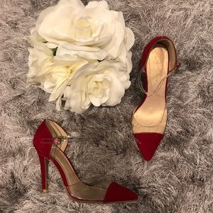 Wine Suede Point Clear Design Ankle Strap stiletto